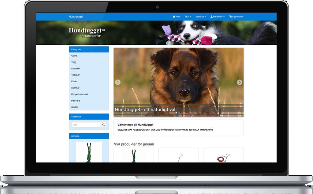 Hundtugget behövde uppdatera sin gamla e-butik till en ny med responsiv design. 1