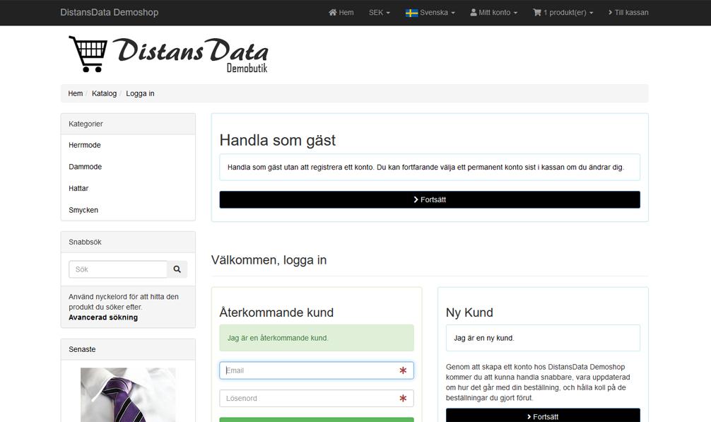"""""""Handla som Gäst"""" i webbshoppen ingår 1"""