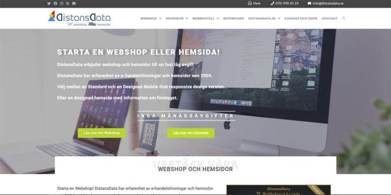 DistansData ny hemsida skapad i WordPress