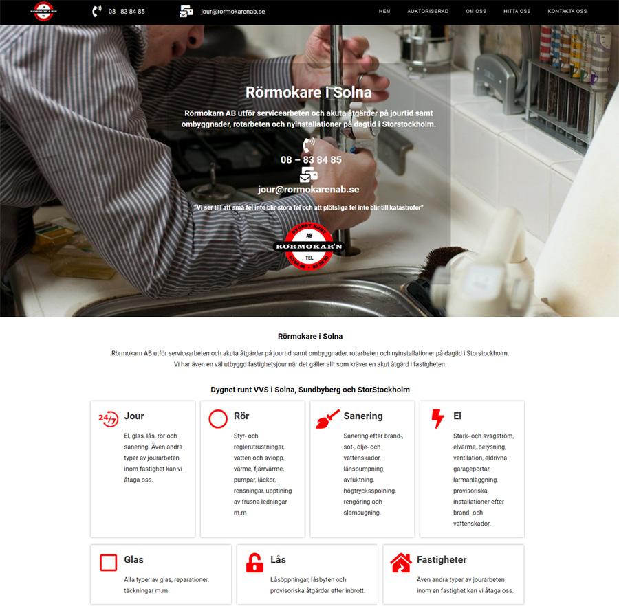 Ny hemsida åt Rörmokarn AB